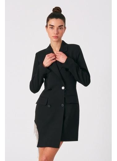Robin Taş Püsküllü Ceket Elbise Siyah Siyah